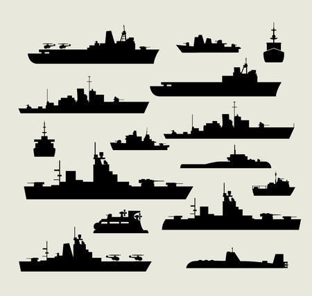 A set of silhouettes of warships for design and creativity Stock Illustratie