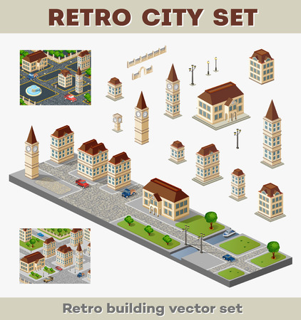 urban landscapes: Big set of retro buildings and structures of urban infrastructure. Landscapes and scenery retro style city. Illustration