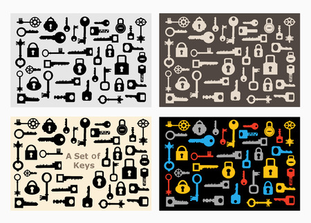 locks: Set of locks and keys of various shapes and colors for design and creativity Illustration