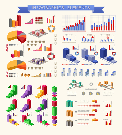 business chart: Set of infographic elements for urban and industrial theme