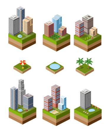 condominium: A set of isometric urban neighborhoods with high-rise buildings and swimming pools and parasols.