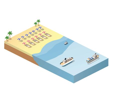 sunny beach: Isometric view of the sunny beach with umbrellas, deck chairs and blue sea with ships Illustration