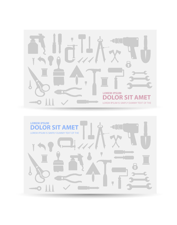 consists: Flyer repair consists of silhouettes of various construction tools. Illustration