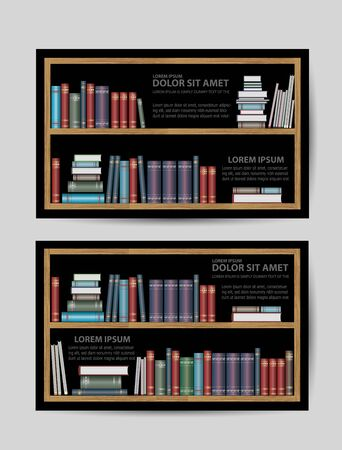 domestic room: Business cards with books and bookshelves