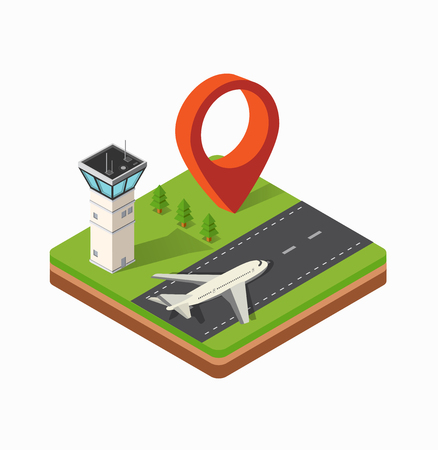 air traffic: Isometric map of the city airport, the trees and the flight of construction