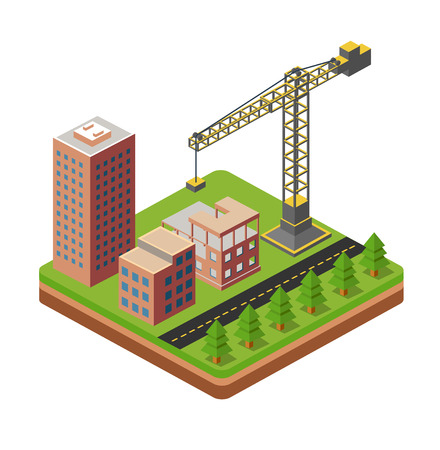 Industrial city building with construction cranes and building houses Illustration