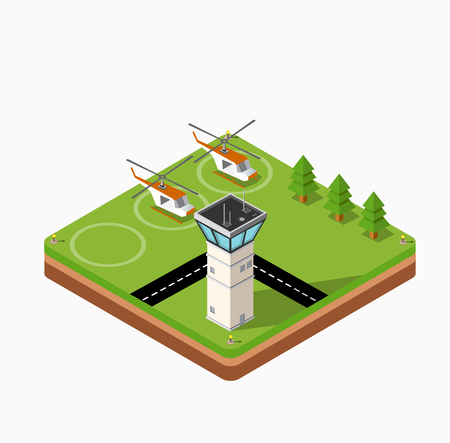 helicopter: Isometric map of the airport of the city, trees and building and flying helicopters Illustration