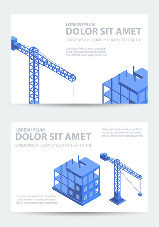 civil construction: Industrial city building with construction cranes and building houses, a car, civil engineer for the business card template