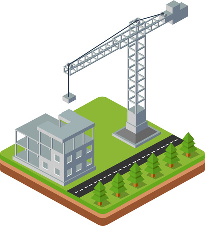 industrial construction: Industrial city building with construction cranes and building houses, the trees made the road in perspective Illustration