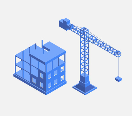 Industrial city building with construction cranes and building houses, a car made in perspective in blue