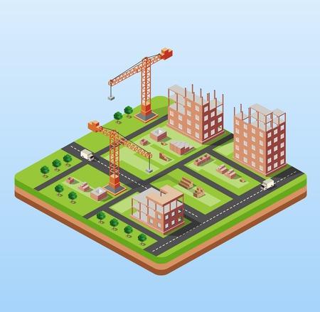 Costruzione di città industriale con gru e costruire case, una macchina fatta in prospettiva isometrica