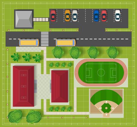 cenital: Vista superior de la ciudad de los edificios de la escuela, un campo de fútbol y de béisbol