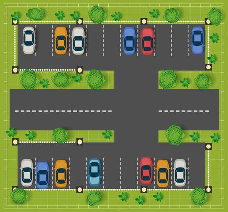 tree top view: Parking sur la route vue de dessus avec des voitures et des arbres.