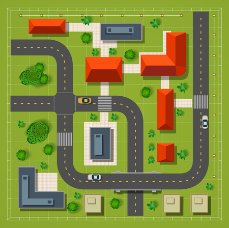 Top view of the city with the city road building cars and trees