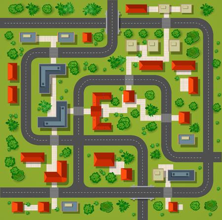 cảnh quan: Bản đồ của một cái nhìn đầu từ mái nhà, đường phố thành phố, cây xanh và đường cao tốc