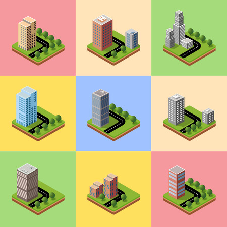 model kit: A set of isometric urban neighborhoods with high-rise buildings
