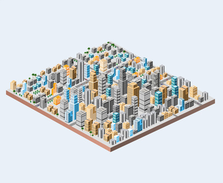 urban district: Big isometric city with hundreds of different houses, offices, skyscrapers, supermarkets and city streets with traffic.