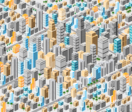 tridimensional: Background of isometric city with hundreds of different houses, offices, skyscrapers, supermarkets and streets with traffic. Illustration