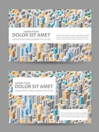 tridimensional: Big isometric city with hundreds of different houses, offices, skyscrapers, supermarkets and city streets with traffic. Background for business cards and real estate agencies.