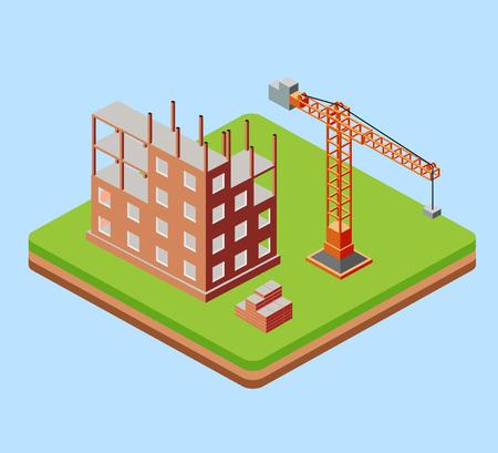 cantieri edili: Edificio industriale della città con gru e la costruzione di case di un fatto in prospettiva isometrica