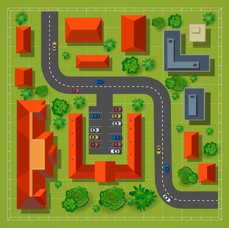 locality: Map of a top view from the rooftops, city streets, trees and highways
