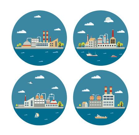 paesaggio industriale: Set di vettore paesaggio industriale di edifici. Costruzione della caldaia. Costruzione potere. Costruire magazzini. Fabbriche costruzione. L'edificio sottostazione. Costruzioni edilizie industriali urbani. Vettoriali