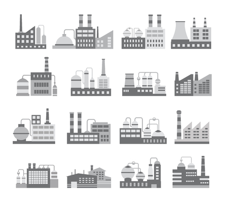 urban building: Set of black and white vector industrial buildings. Boiler building. Power building. Warehouses building. Factories building. The substation building. Buildings urban and industrial buildings. Illustration