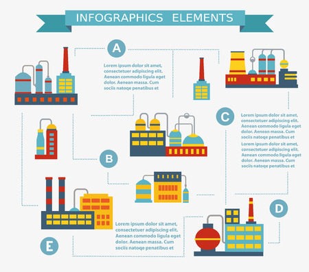 Infographic vector Set of industrial buildings. Boiler building. Power building. Warehouses building. Factories building. The substation building. Buildings urban industrial buildings.