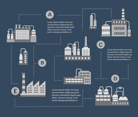 Infographic vector Set of industrial buildings. Boiler building. Power building. Warehouses building. Factories building. The substation building. Buildings urban industrial buildings.