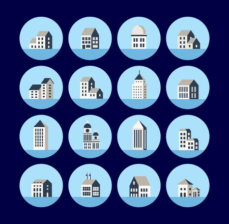 building: A set of flat icons with city buildings. Icons of the building. Icons home. A set of town homes. Icons of houses and construction of commercial and municipal properties. Illustration