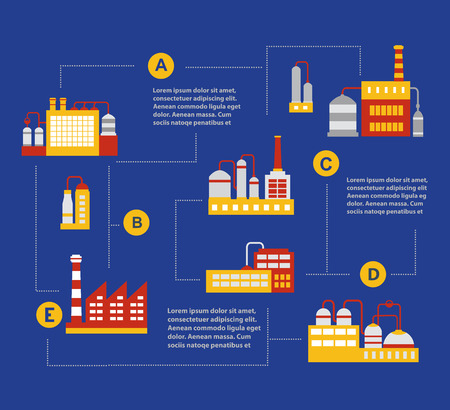 urban building: Infographic vector Set of industrial buildings. Boiler building. Power building. Warehouses building. Factories building. The substation building. Buildings urban industrial buildings.
