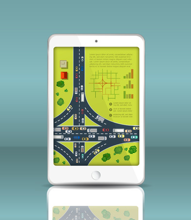 top down car: Mobile phone in a realistic style with reflection and highways with cars motion. Map of traffic vehicles.