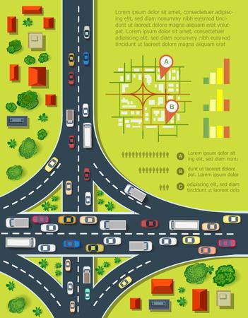 route: Infographie de la route avec les routes avec beaucoup de voitures. Carte de la congestion de la circulation et des transports urbains. Vue du haut de la ville avec des maisons et des routes.