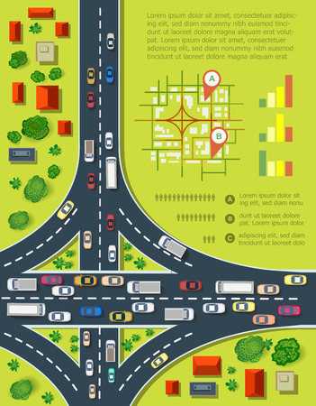 road: Road infographics with highways with lots of cars. Map of traffic congestion and urban transport. Top view of the city with houses and highways.