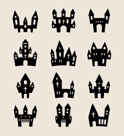 Halloween silhouettes set of Castle on a gray background and fortresses in the flat style for Halloween and holidays. Halloween Castle