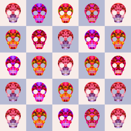 Set of skulls with different backgrounds and different shades and colors for design and inspiration. Skull Halloween