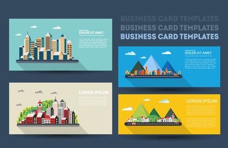 travel agencies: Real estate business card set. Template business cards for real estate agents and travel agencies.