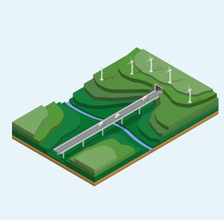 山の景観に風力発電機。川、山、車で高速道路と自然の風景