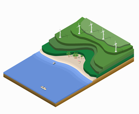 arboles de caricatura: Paisaje isométrico con montañas, la playa con sombrillas y barco en el mar azul