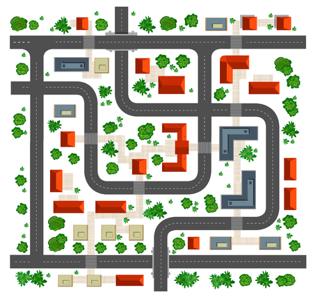 in top: Map top view from the rooftops, streets, trees and roads on a white background Illustration