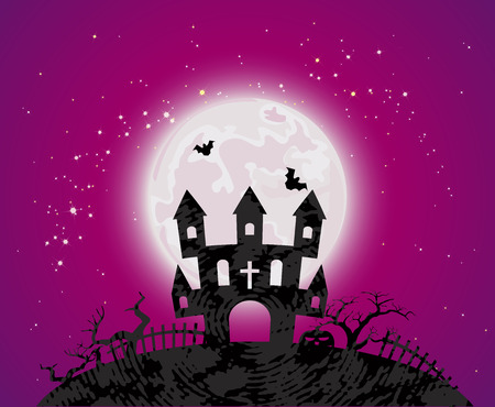 haunted tree: Halloween poster with cemetery haunted house, bats and full moon. Vector illustration. Illustration