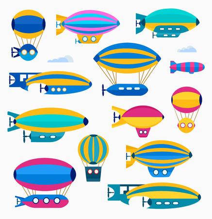 luftschiff: Set bunte niedliche Ballon, Ballon und Luftschiff. Farbe Illustration aus einer Reihe von Luftschiffen und Luftfahrt Vermögenswerte in einem flachen Stil. Illustration