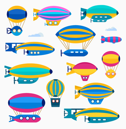 aeronautical: Set of colorful cute balloon, balloon and airship. Color illustration of a set of airships and aeronautical assets in a flat style. Illustration