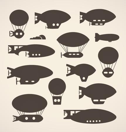 aeronautical: A set of silhouettes of cute balloon, balloon and airship. Monochrome illustration of a set of airships and aeronautical assets in a flat style.