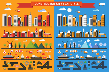 architectures: Big set in a flat style of urban elements to make your own flat city. Many color illustrations of various houses, skyscrapers and buildings, transport and urban infrastructure construction and design. Illustration