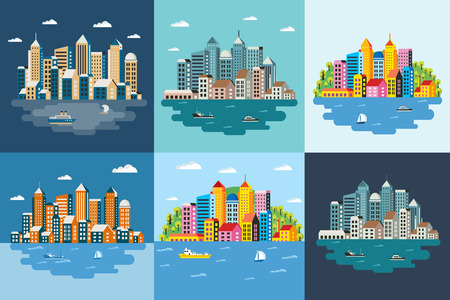 graphic icon: Megapolis landscape of the big city, metropolis, architecture, day and night, buildings, skyscrapers, skyline, vector illustration, flat design Illustration