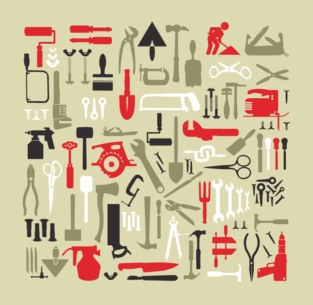 Set of building tools for repair carpentry and plumbing construction, home renovation, car repair, renovation and construction of a country house