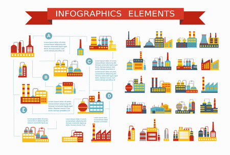 economic growth: Set of industrial and residential buildings and structures for the construction and design and design presentations infographics Illustration