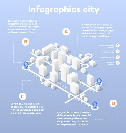in center: City isometric map, consisting of city skyscrapers block pointer and driving directions