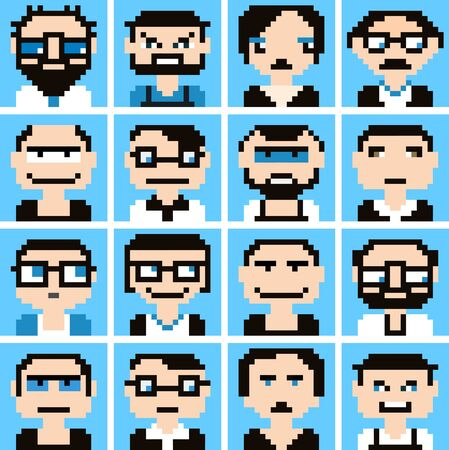young group: Icons in style pixel graphics of male and female faces.